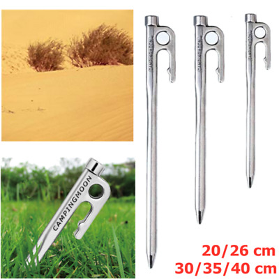 20 30 35 40cm Heavy Duty Steel Metal Tent Pegs Camping Canopy Stakes Ground Nail