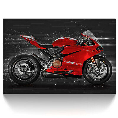leinwand bild ducati panigale 1299 motorrad wandbild abstrakt kunstdruck bilder eur 39 00. Black Bedroom Furniture Sets. Home Design Ideas