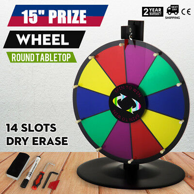 """15"""" Prize Wheel Stand Fortune Spinning Game Tabletop Color Dry Erase"""