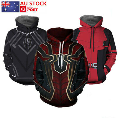 Avengers Infinity War Iron Spiderman Deadpool Black Panther Hoodie Sweater Coat