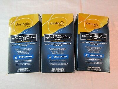 Lot of 3 Daylogic For Men Minoxidil Topical Solution 5% Unscented 9-Month Supply