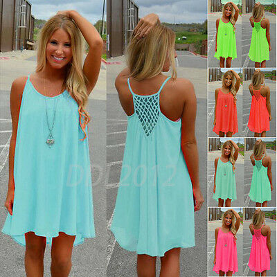 Women Holiday Chiffon Beach Wear Bikini Cover Up Boho Ladies Girls Swim Dress UK