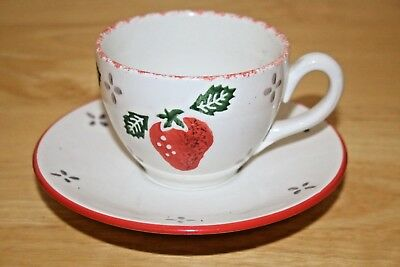 Laura Ashley Summer Fruits - Strawberry design Cup & Saucer - VGC