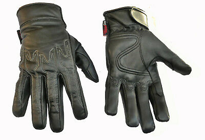 Mens Leather Motorcycle Motorbike  Gloves Perforated New Lightweight Black Biker
