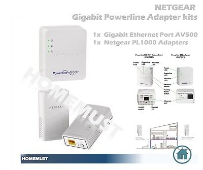 NEW Netgear Gigabit Powerline Adapter Kit - 1x Ethernet Port, 1x PL Adapter