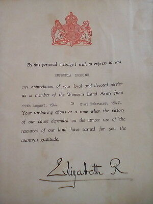 WWII Womens Land Army Letter of Appreciation signed by Queen Mother, Elizabeth R
