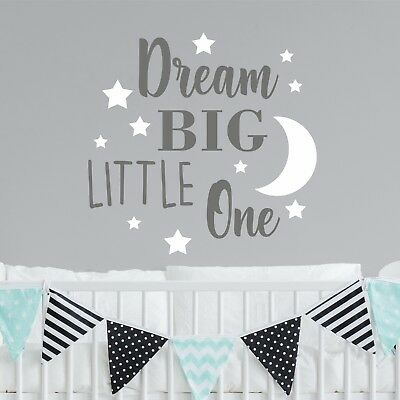 Dream Big Little One Nursery Wall Sticker Decal Quote Words Vinyl Bedroom |WQB65