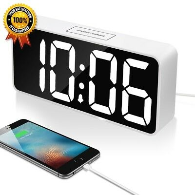 9quot Large LED Digital Alarm Clock with USB Port for Phone Charger White