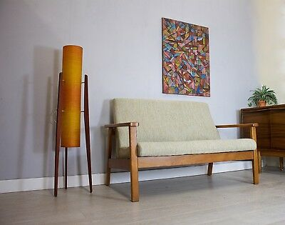 DELIVERY£60 Late Mid Century 2 Seater Teak Framed Sofa Tweed Wool Pair Available