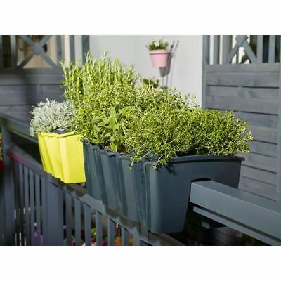 MODERN Flower Pot for Terrace Railing Balcony Box 4 colours and 3 sizes