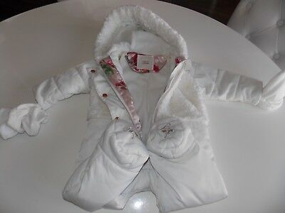 Ted Baker Baby Girls White Pram suit Snowsuit Bow 6-9 Months