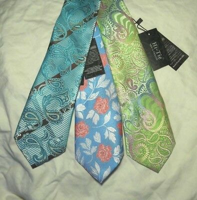 NEW_Lot Of 3_HI TIE HandMade Silk Ties_Pink Floral On Sky Blue + 2 More