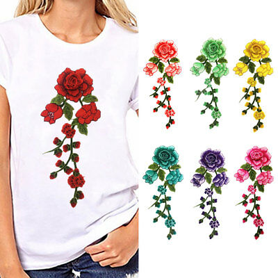 Floral Flower Applique Clothing Embroidery Patch Sticker Iron On Sew Cloth Bling