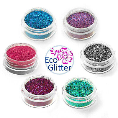TRIAL PACK 6 Biodegradable Glitters - Incl 1 Chunky! Tattoo Eco Bio  party Kfb