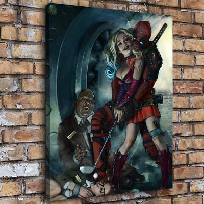 "12""x16""Harley Quinn and Deadpool Crazy Love Home Decor HD Canva Print Wall Art"