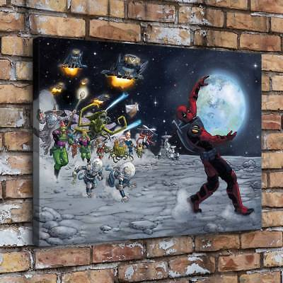 "12""x16""Deadpool Starry Planet Home Decor Room HD Canva Print Wall Art Painting"