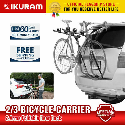 IKURAM Bicycle Bike Car Rear Rack Carrier Trunk Mount Strap-On Foldable Steel
