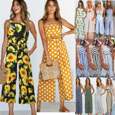 Plus Size Boho Womens Spot Holiday Long Playsuits Dress Trousers Jumpsuit 6-16