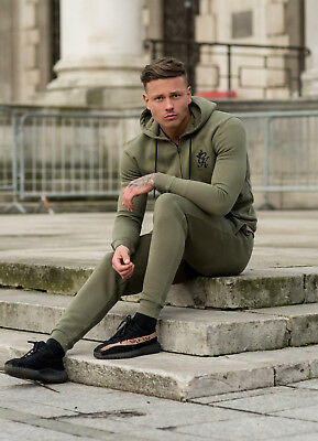 Mens Gym King Full Tracksuit Zip Hoodie Jogging Pant Full Gym Muscle Fit  Olive M 43fb86084397