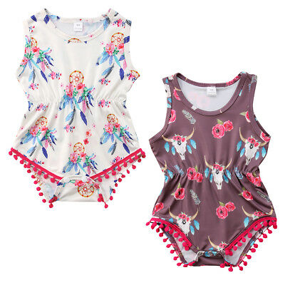 Newborn Baby Girl Toddler Summer Clothes Flower Romper Bodysuit Jumpsuit Outfits
