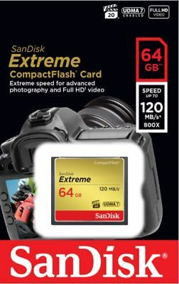 SanDisk 64GB Extreme CompactFlash CF Memory Card 120MB/s Full HD UDMA 7 800x