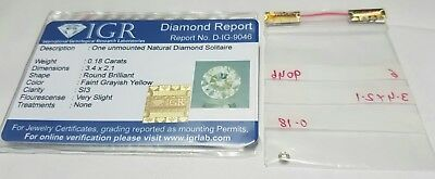 0.18 ct. Diamante naturale certificato IGR round Grayish yellow color SI3