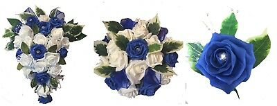Wedding Flowers brides bouquet teardrop table centre piece royal blue and ivory