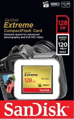 SanDisk 128GB Extreme CompactFlash CF Memory Card 120MB/s UDMA 7 FULL HD 800X