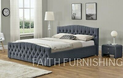 Chesterfield Ottoman Storage Fabric Bed Chenille,Velvet or Linen Double and King
