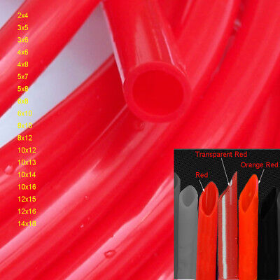 ID:2mm~14mm Red Food Grade Silicone Flexible Tubing High Temp Soft Hose/Pipe