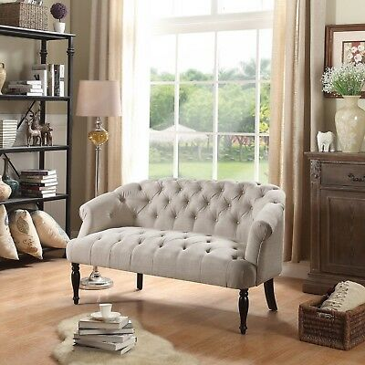 Upholstered Settee Luxurious Loveseat Vintage Style With Tufted Button Accents