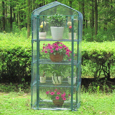 4 Layers Mini Greenhouse Steel Frame Outdoor Garden Plant House PVC Material