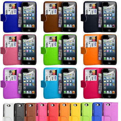 Magnetic Book PU Leather Flip Wallet Card Case Cover For Apple iPhone 5/5G/5S
