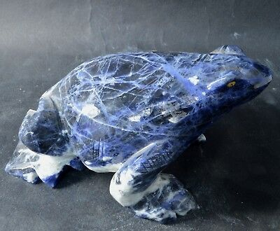 Grenouille en Sodalite sculpture en pierre 130x90mm