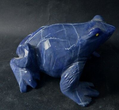Grenouille en Sodalite sculpture en pierre 120x90mm