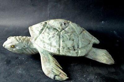 Tortue en Serpentine sculpture en pierre 150x133x45mm