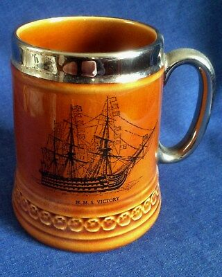 Lord Nelson Pottery. Small tankard. 'HMS Victory'.