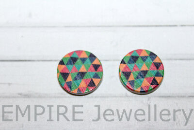 2 x Triangle Pattern #2 Wooden Laser Cut Flatback 15x15mm Cabochon Geometric