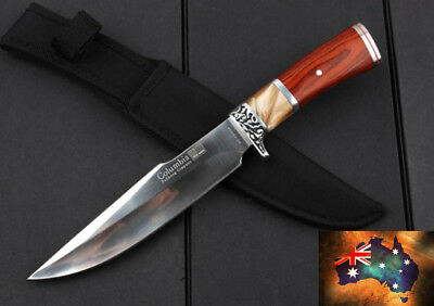 "12"" Stamped Pattern Hilt marble resin handle Knife hunting collect Pig Sticker"