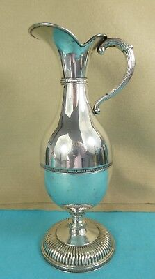 Very Elegant Continental Sterling Silver WIne Jug / Ewer Chased Bands Ca 1940