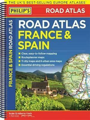 Philip's France and Spain Road Atlas: Spiral Paperback Book Free Shipping!