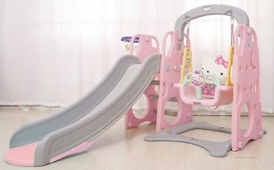 Quality Kids Slide Swing Basketball Ring Indoor Play Toys Home Playground