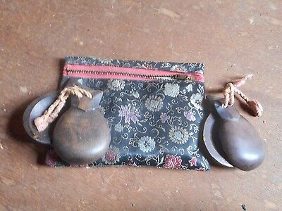 Vintage Wooden Castanets Spanish Intruments With Bag