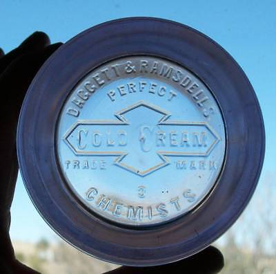 Early Vintage Amethyst Daggett & Ramsdell Chemists Perfect Cold Cream Jar.