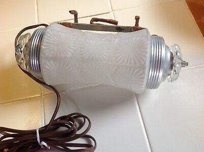 Vintage Art Deco Clear Frosted Glass Headboard Lamp Bed Reading Light