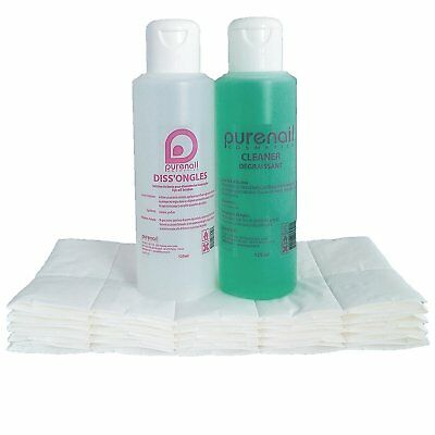 KIT SOLVENT POCKET Cleaner Degreaser + Diss'Ongle acetone + cellulose squares