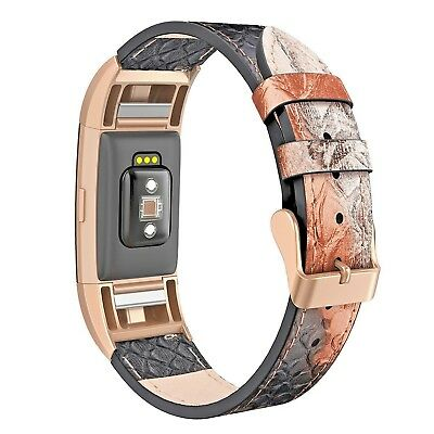 Real Leather Replacement Watch Strap For FitBit Charge 2 Snake Skin WristBand UK