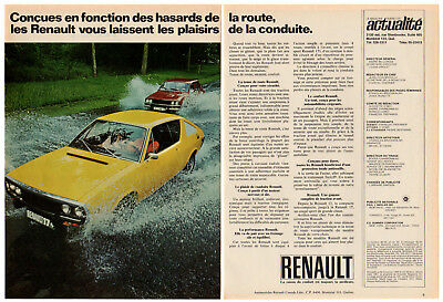 1972 RENAULT 17 Coupe Vintage Original Print AD 2 pages Yellow car photo Canada