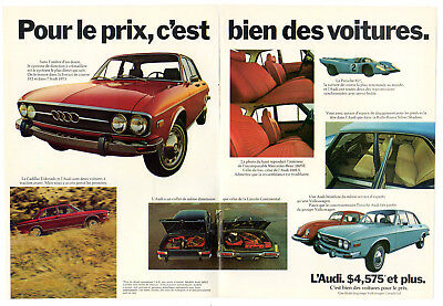 1973 AUDI 100 Vintage Original Print AD 2 pages double sided Gray car photo FR