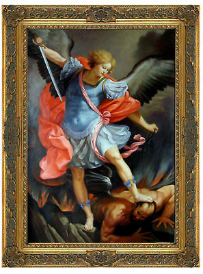Hand Painted Antique Guido Reni Oil Painting repro St. Michael Defeats Satan